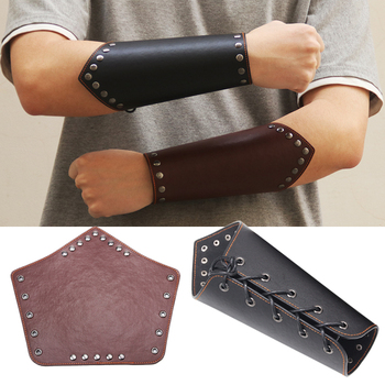 One Piece Men PU Leather Arm Warmers Lace-Up Gauntlet Wristband Bracer Protective Arm Armor