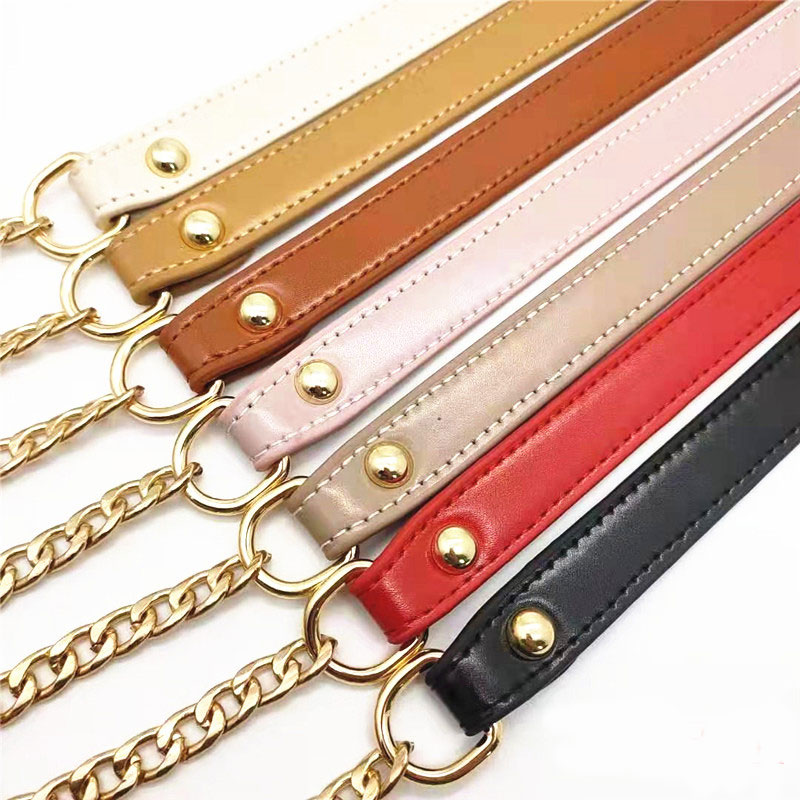 120cm Bag Chain Replacement Metal+PU Leather Bag Straps For DIY Handbag Handles Shoulder Straps Accessories O Bag Handles