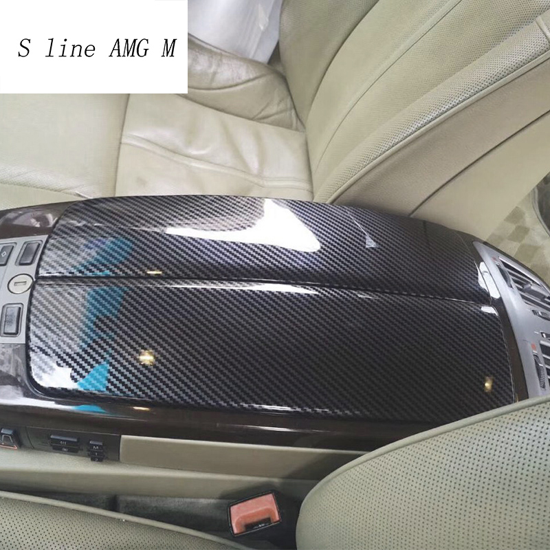 Car Styling Carbon Fiber For BMW 7 Series E65 E66 Stowing Tidying Armrest Box Protect Stickers Covers Interior Auto Accessories