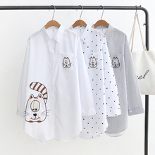 Hot New Arrival Embroidery Cat White Blouses & Shirts Casual Striped Dot Cotton Shirt Loose Plus Size Feminina Blusa Women Tops