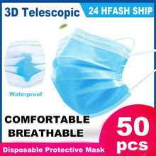50pcs In stock Fast delivery Disposable mouth protective face mask Adult use Three-layer meltblown cloth combination Masks(China)