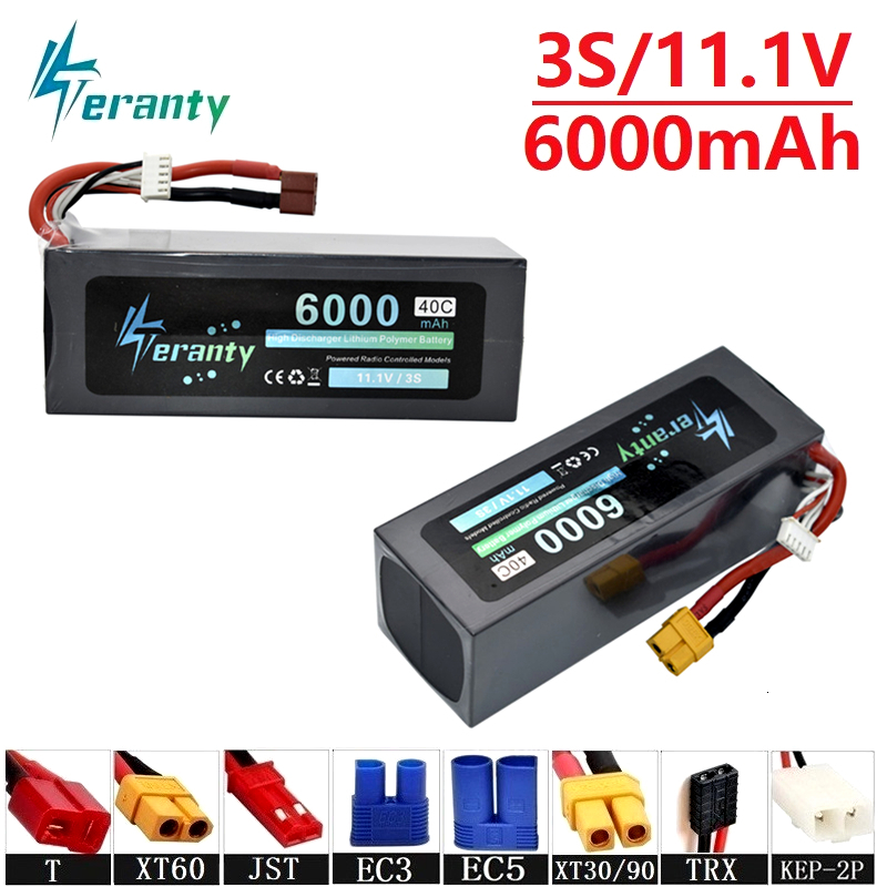 Teranty Power 11.1v 6000maH 40C Lipo Batterry For RC Drone Boat Quodcopter Spare Parts 3s 5200mah 11.1v Batteries T/XT60 Plug
