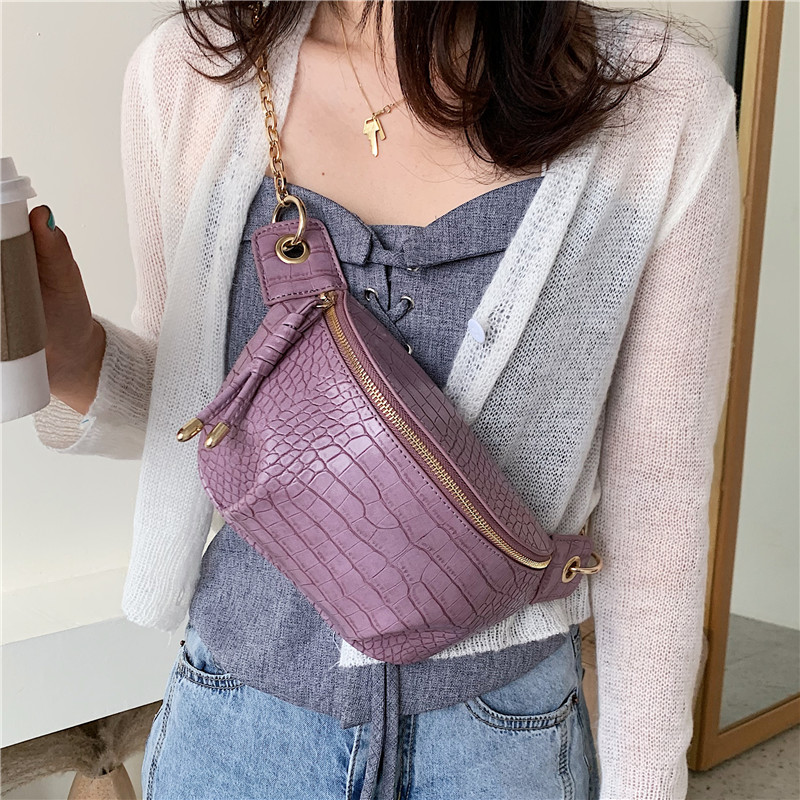 Crocodile Pattern PU Leather Crossbody Bags For Women 2020  Luxury Shoulder Handbags Female Travel Purple Chest Bag