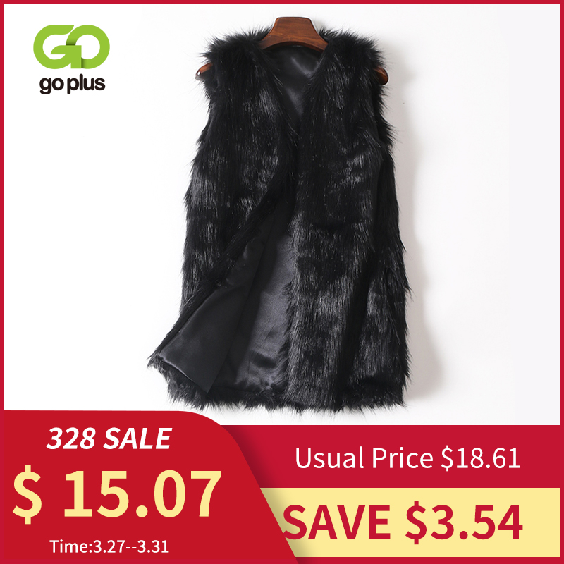 GOPLUS Winter Women's Faux Fur Coat Vest Plus Size Black V-Neck Luxury Faux Fake Fox Fur Vest Kamizelka Futerko Fourrure Femme