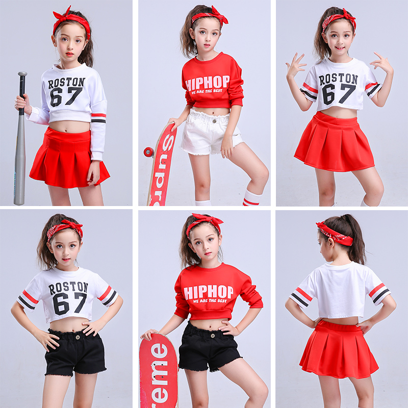 Children Hip Hop Clothes Kids Short Sleeve Modern Jazz Street Dance Costume Spring Summer 2 Color Sweatshirt Pants Set 110-170cm