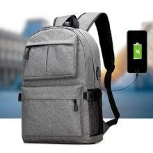 купить Fashion USB Unisex Backpack Book Bags for School Casual Oxford Canvas Backpacks Zipper Black Gray Travel High Quality Backpacks дешево