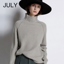 JULY Autumn Winter New Cashmere Sweater Women High-Collar Thickened Pullover Loose Sweater Large Size Knitted Wool Shirt цена и фото