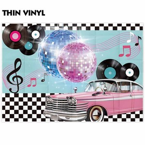 Image 3 - Funnytree photocall photography music luxurious car Disco 90 party Black white plaid backdrop photophone camera photo background