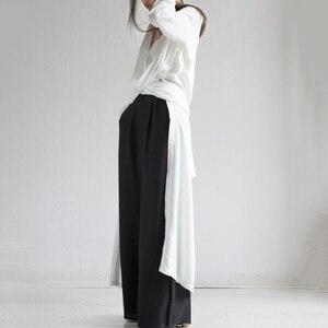 Image 4 - GALCAUR 캐주얼 스플릿 느슨한 여성용 블라우스 긴 소매 우아한 미디 셔츠 탑 여성 패션 의류 2020 조수 가을 빅 사이즈