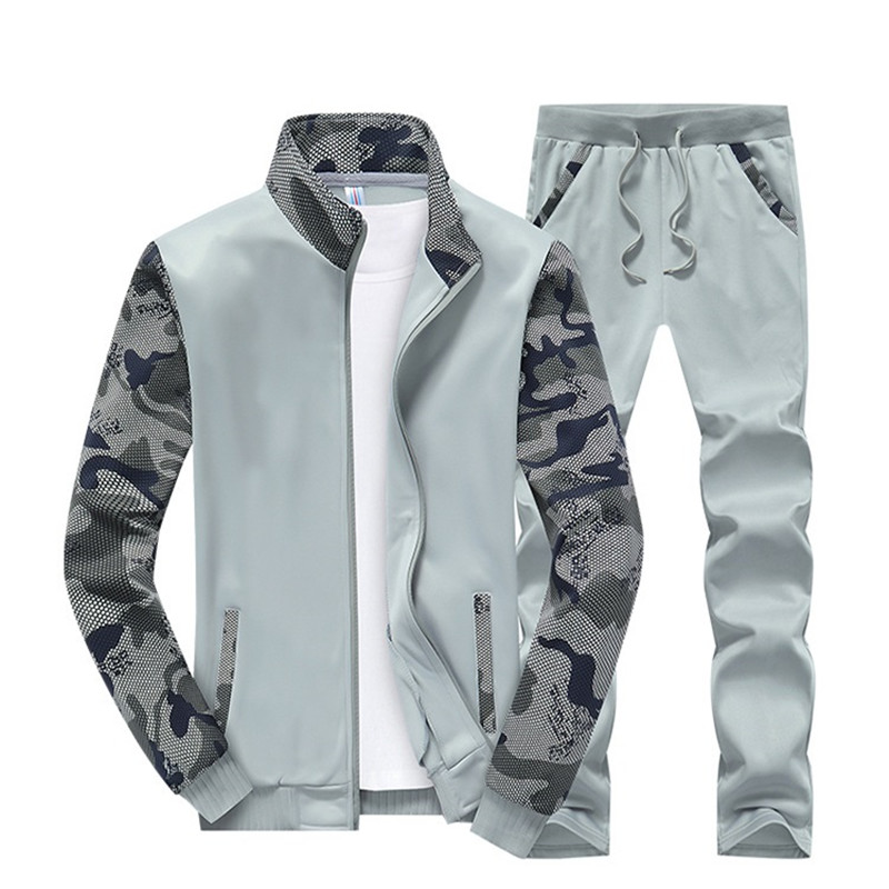 New Fashion Men Set Long Sleeve Camouflage Hoodies Mens Tracksuits Sweatshirt Pants Male Suit Zip Jacket Sweatpant Sports Suits