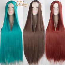 TALANG 100cm Different colors Full Straight Long Heat Resistance Synthetic Hair Cosplay Costume Wigs(China)