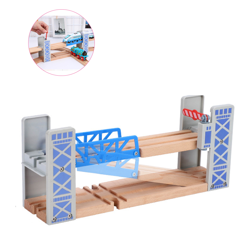 Wooden Train Tracks Railway Toys Set Wooden Double Deck Bridge Wooden Accessories Overpass Model Kid's Toys Children's Gifts