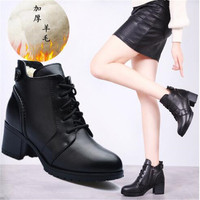 New ladies leather boots sheepskin one short boots fashion sexy warm women's boots soft bottom casual boots children