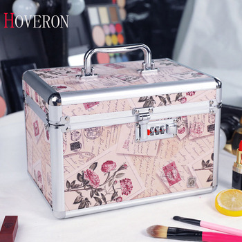 Fashion Woman Cosmetic Case Password Lock Cosmetic Case Large Capacity Portable Storage Box Double Cosmetic Storage Box Nail Kit