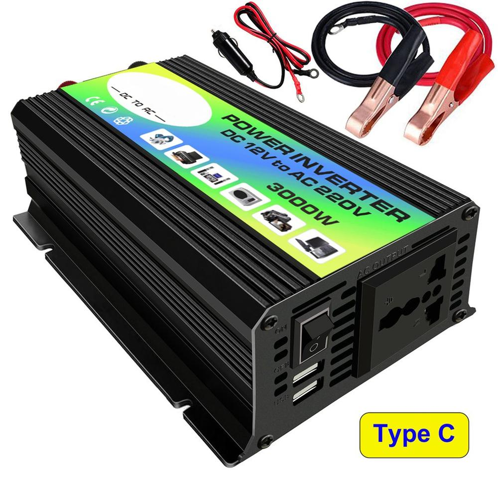 3000W 12V to 220V 110V Car Power Inverter Converter Charger Adapter Dual USB Voltage Transformer Modified Sine Wave