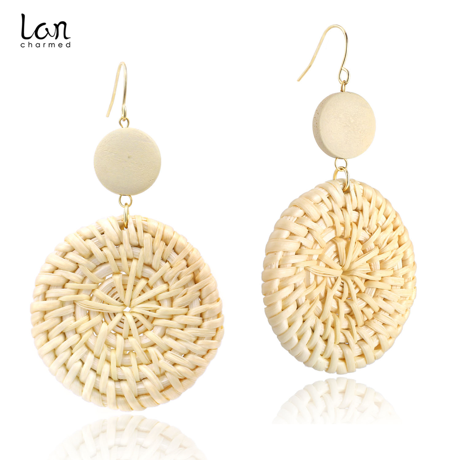 2019 Hot Sale Fashion Rattan Wicker Wood Woven Drop Earrings Statement Earrings for Women Bohemia Ladies Earrings in Drop Earrings from Jewelry Accessories
