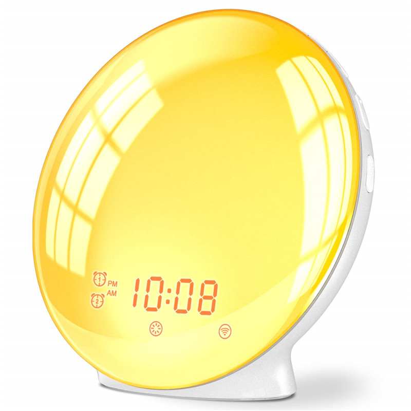Wake Up Light Alarm Clock Kids Night Light Sunrise Simulation and Sunset Snooze Dual Alarm Clock with FM Radio for Bedroom(China)