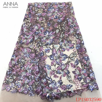 Anna newest french sequins lace fabric 2020 high quality embroidery 5 yards/piece african tulle laces fabrics for garment sewing