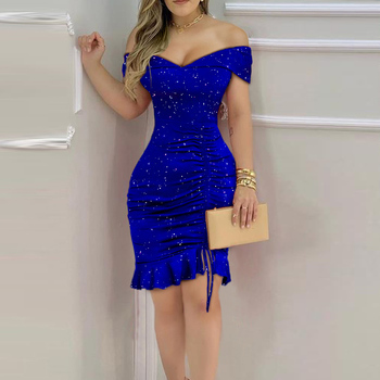 Women Sexy Shiny Off Shoulder Sleeveless Ruffles Ruched Nightclub Bodycon Dress Party Dresses 1