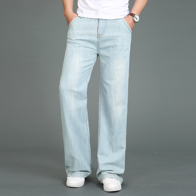 Jeans Men 2019 Summer New Thin Large Size Micro Bell Pants Men's Modis Straight Jeans Light Blue Classic Jeans More Size 28-34