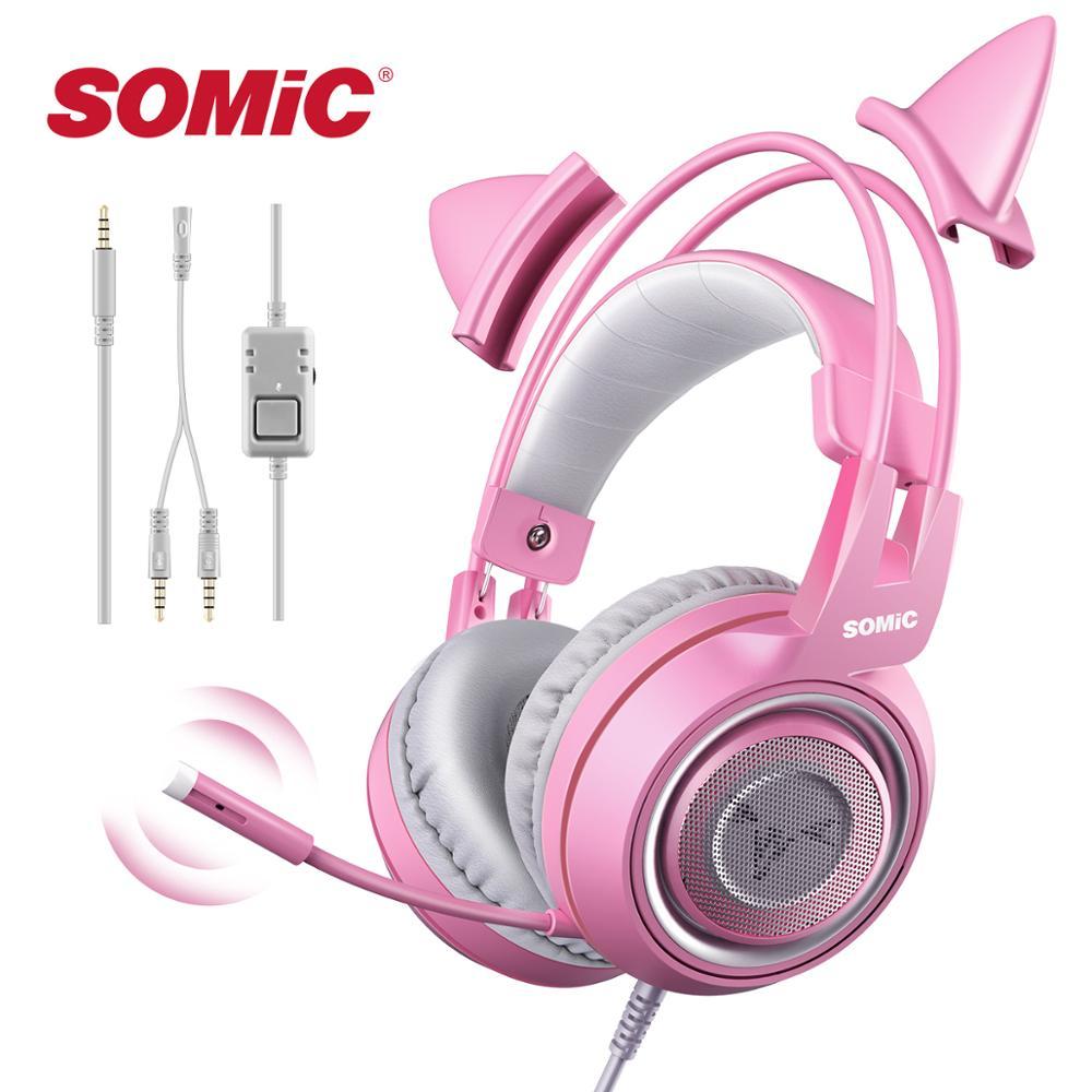 Somic g951s ps4 rosa gato orelha com cancelamento de ruído fones de ouvido 3.5mm plug menina crianças jogos fone de ouvido com microfone para o telefone