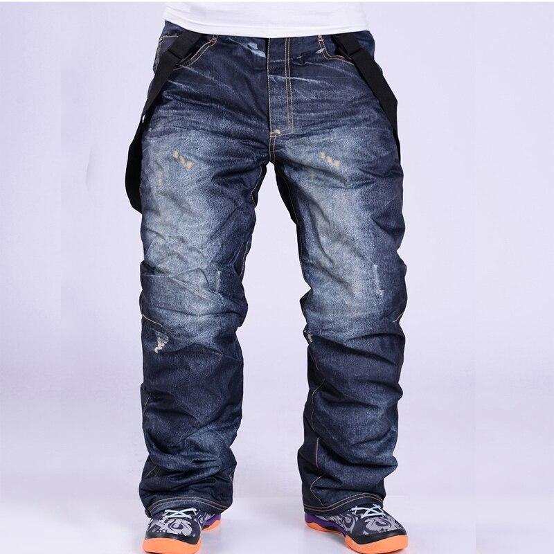Новинка Зима 2020, джинсовые брюки для сноуборда, мужские подтяжки, джинсовые лыжные брюки, штаны для скейтборда, термальные ветрозащитные во...
