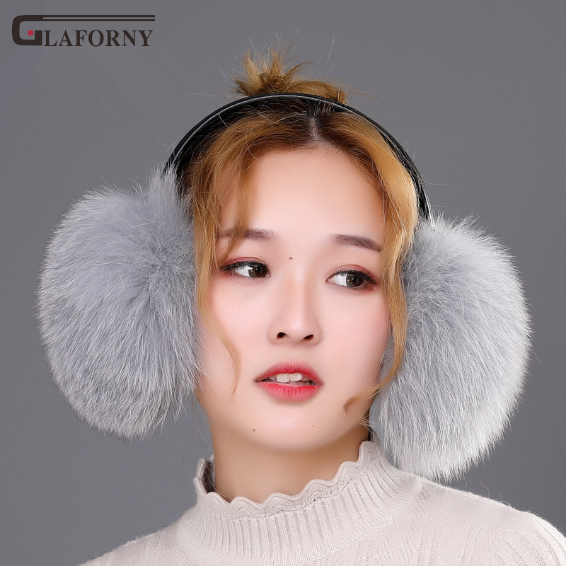 2019 Glaforny Solid Korean Version Of The Trend Winter Whole Fur Cute Female Fox Fur Earmuffs Women Winter Warm Earflaps
