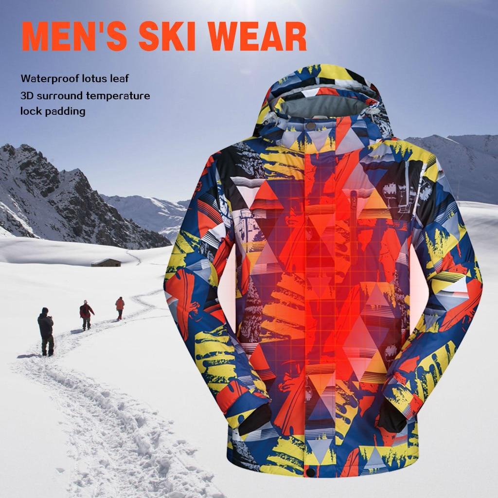 Men Ski Jacket Print Cold Windproof Waterproof Winter Outdoor Skiing Ice Skating Coat Male Breathable Warm Outwear Windbreaker