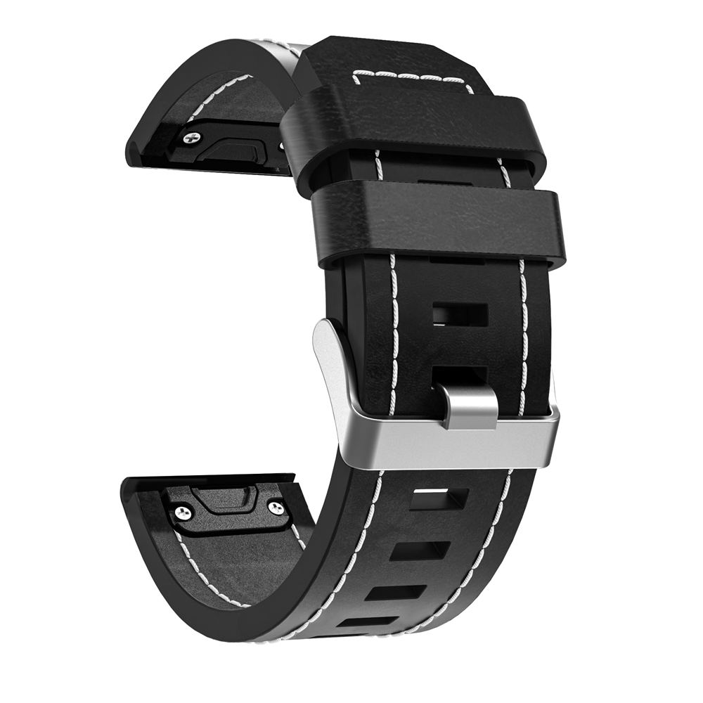 Easyfit Wriststrap 26mm Quick Release Leather Watchband Bracelet For Garmin Fenix 6X / Fenix 6X Pro Fenix 3 3 HR Smart Watchband