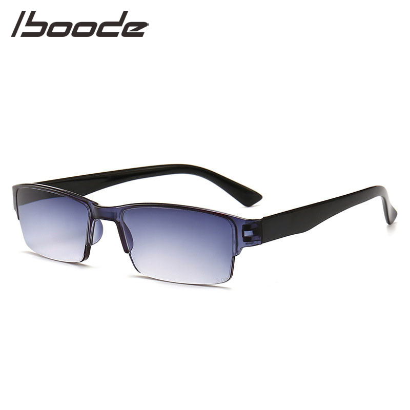 IBOODE Half Frame Square Reading Glasses Women Men Square Semi Rimless Presbyopic Eyewear Female Male Hyperopia Eyewar Unisex