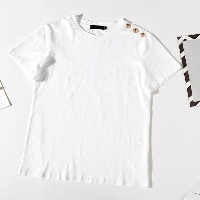 100% Cotton Women Cotton Shirts Summer Letter T-Shirt Female Short Sleeve Tees Ladies Casual Tops O Neck Harajuku Shirt 3