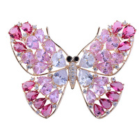 Korean version of animal jewelry corsage micro zircon brooch colorful butterfly brooch wedding dress accessories