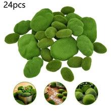 24 pçs artificial musgo pedras grama planta verde casa decoração do jardim paisagem falso verde musgo coberto pedras musgo rochas decorativas