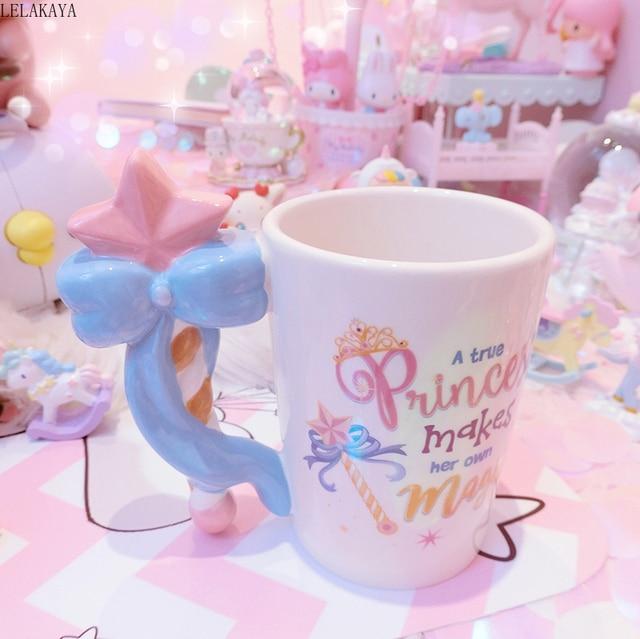 201 300ml fée princesse baguette magique poignée tasse belle bande dessinée Action Figure imprimé en céramique café thé tasse filles anniversaire cadeau