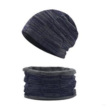 2τμχ unisex Σετ Σκουφί Κασκόλ Περιλαίμιο Ζεστό Χειμερινό Πλεκτό για Άνδρες Γυναίκες
