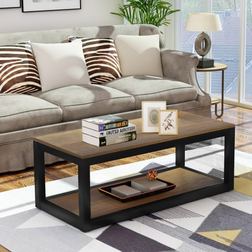Rustic Industrial Design Rectangular Coffee Table With Metal Base And Open Bottom Shelf