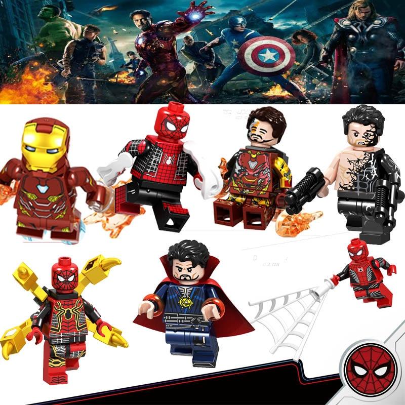 Legoing Marvel Avengers Super Heroes Iron Man Captain America Loki Spider War Thanos Hulk Tony Building Blocks Figures Toys