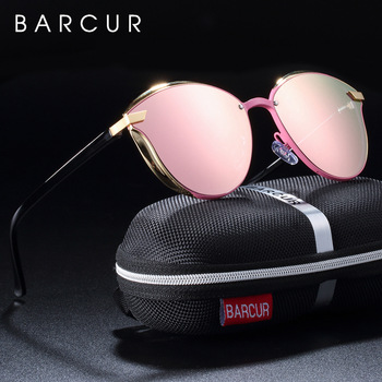 BARCUR Luxury Polarized Sunglasses Women Round Sun glassess Ladies lunette de soleil femme 1