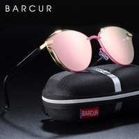 BARCUR Luxus Polarisierte Sonnenbrille Frauen Runde Sun glassess Damen lunette de soleil femme