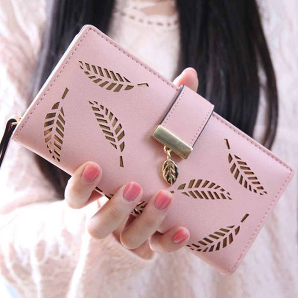 2020 Fashion Women Hollow Leaf Card Coin Purse Long Wallet Zipper Buckle Clutches Bag Female Purse Pochette For Christmas Gift