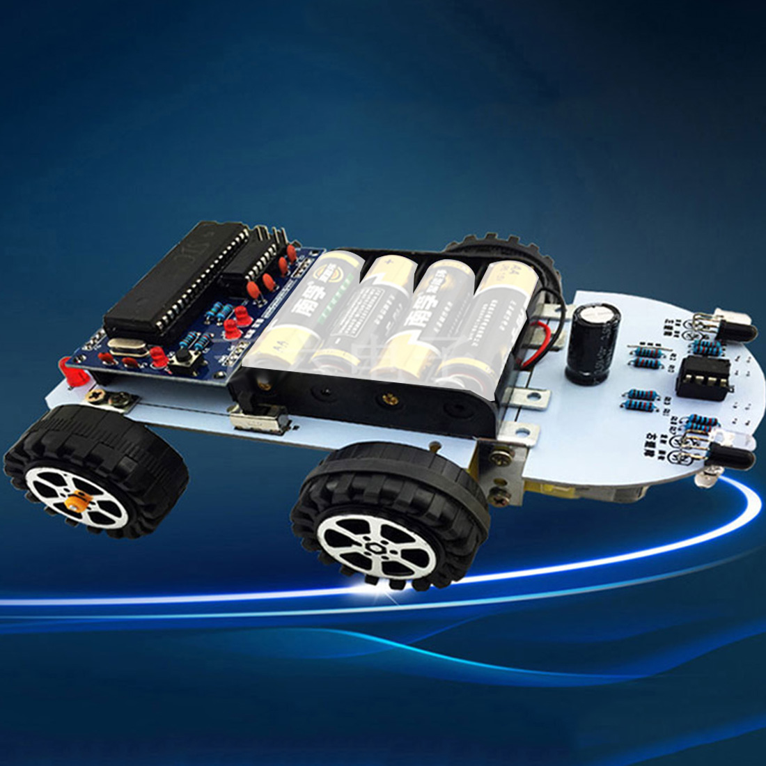Feichao C51 4WD Tracking Line <font><b>Car</b></font> Smart Robot <font><b>Car</b></font> Kits Intelligent Obstacle Avoidance Robot Kits Parts for DIY <font><b>Electronic</b></font> <font><b>Toy</b></font> image