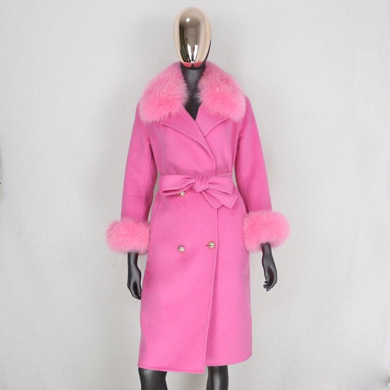 He8ca977dda654fb4bdccb5e40351ac10E 2021X-Long Natural Mongolia Sheep Real Fur Coat Autumn Winter Jacket Women Double Breasted Belt Wool Blends Overcoat Streetwea