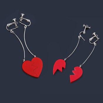 SG Anime JoJo Bizarre Adventure Kujo Jotaro Broken Heart Drop Earrings JOJO Noriaki Cherry Stud Ear Clip Men Cosplay Jewelry