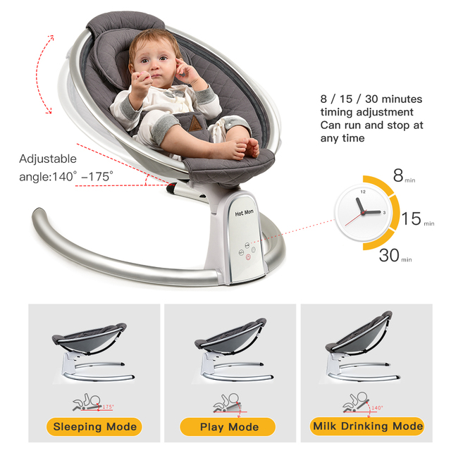 Electric Baby Bouncers with Bluetooth and Five Gear Swing,Hot Mom Intelligence Timing Baby Swing,Pure Cotton Baby Rocker Cardle 2