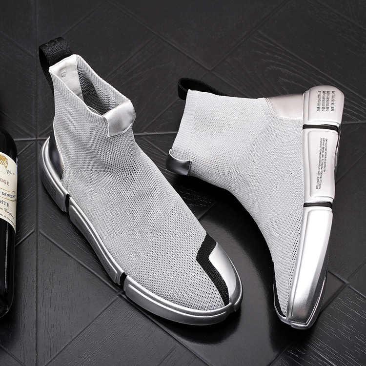 Mens di alta qualità di Modo Calzini e Calzettoni Scarpe Sneakers Uomo di alta top Scarpe casual A Piedi Scarpa Calzature Autunno 2020 oro argento Scarpe