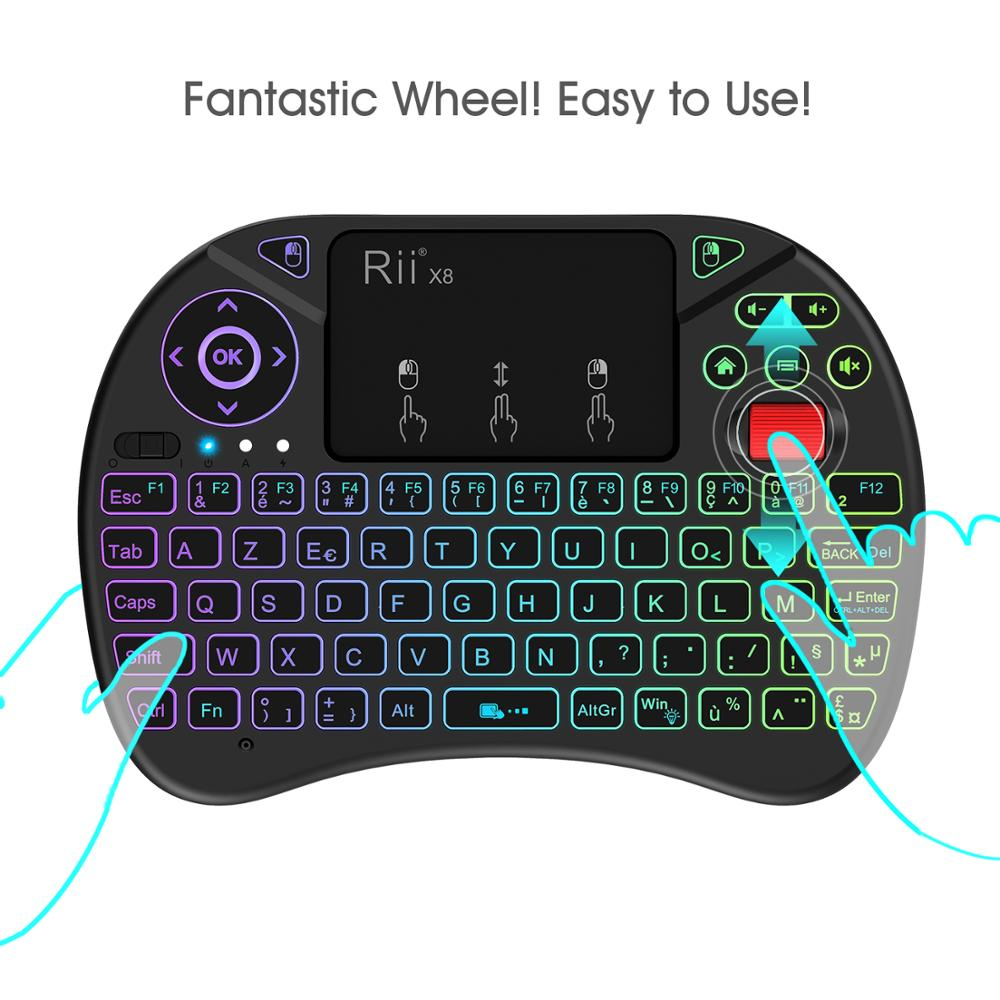 Rii X8 Mini Wireless Keyboard Wireless AZERTY French Keyboard With Touchpad, Changeable Color LED Backlit, Li-ion Battery