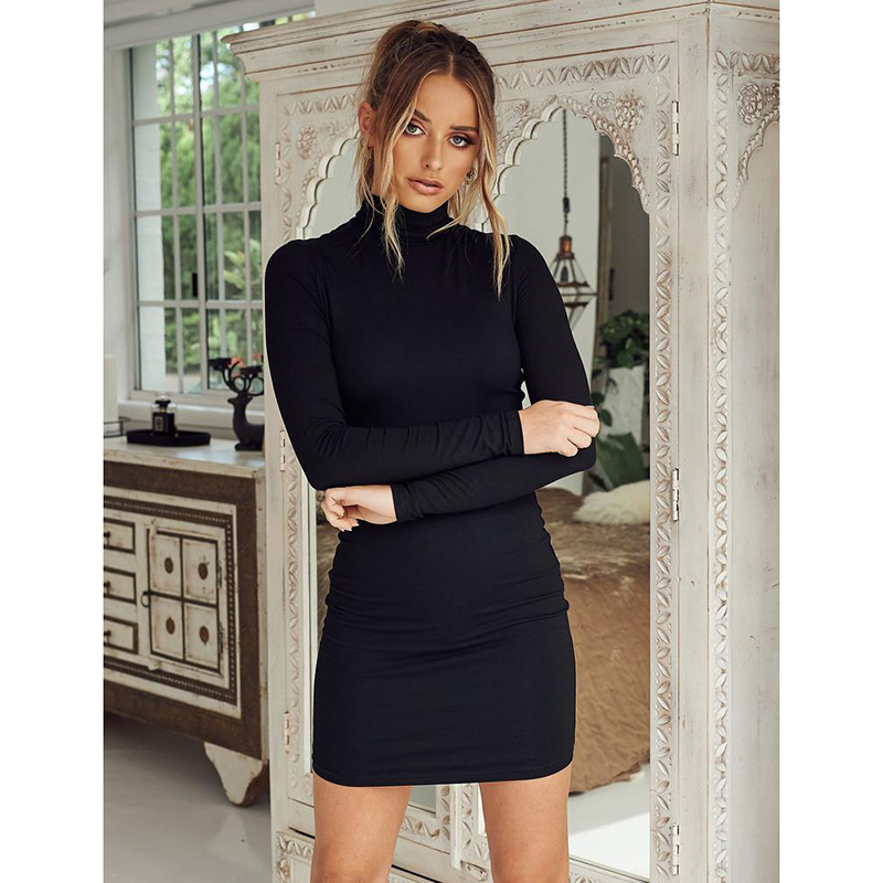 New stand collar long sleeve solid color sexy slim hip dress foundation dress(China)