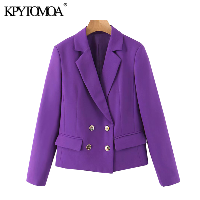 KPYTOMOA Women 2020 Fashion Double Breasted Cropped Blazer Coat Vintage Notched Collar Long Sleeve Female Outerwear Chic Tops