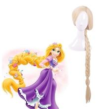 цены Anime Rapunzel Cosplay Wig Super Long Straight Blonde Ponytail Heat-resistant fiber hair Halloween Party Costume Wigs