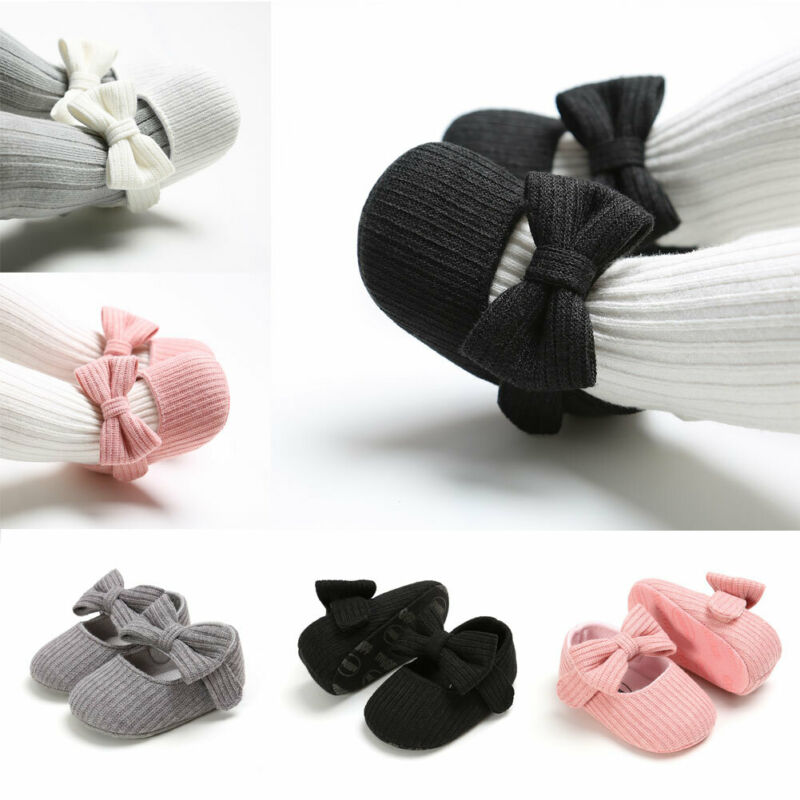 Toddler Kids Baby Girls Soft Cotton Princess Bow Loving Heart Shoes Crib Sole Sneaker 0-18M